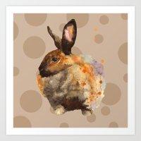 Spotty bunny pillow, rabbit cushion, rabbit painting, woodland nursery art, spots, kids, animal art Art Print