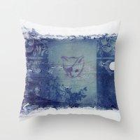 Here Kitty Kitty Polaroid Transfer Throw Pillow