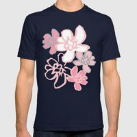 Camelia Woodcut Mens Fitted Tee Navy SMALL