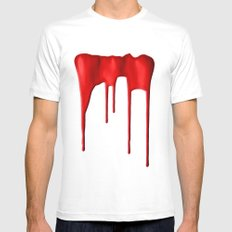 Red Splatter White Mens Fitted Tee SMALL