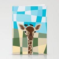 Wild Giraffe Baby on the grassland Stationery Cards