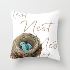 NEST watercolor  Throw Pillow