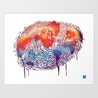 global map finger print Art Print