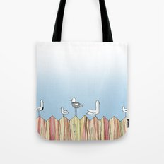 Fence Birdies Tote Bag