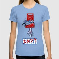 Stunt Rider Womens Fitted Tee Tri-Blue SMALL