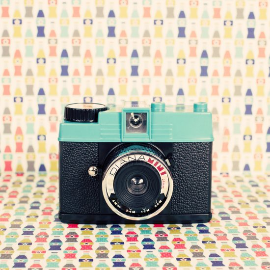 Blue Diana Mini Camera - Retro Vintage Photography Art Print