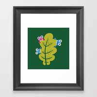 Bugs Eat Green Leaf Framed Art Print