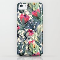 iPhone 5c Cases featuring Painted Protea Pattern by micklyn