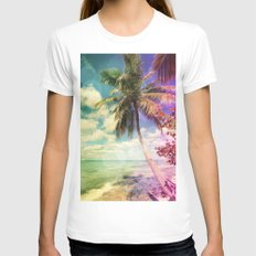 Prismatic Palm Womens Fitted Tee White SMALL