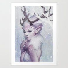 Reindeer Princess Art Print