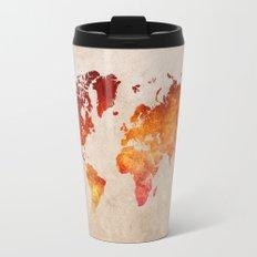 Red World Map Travel Mug