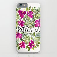 iPhone Cases featuring Killin' It – Tropical Pink by Cat Coquillette