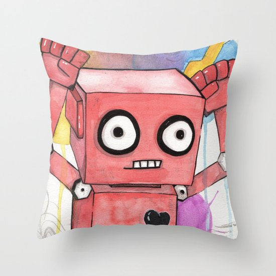 Robot Rage  Throw Pillow