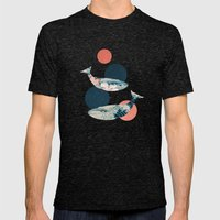 Whales and Polka Dots Mens Fitted Tee Tri-Black SMALL