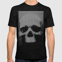 Skull Lines  Mens Fitted Tee Tri-Black SMALL