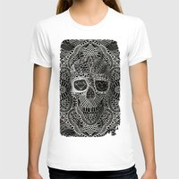skull T-shirts featuring Lace Skull by Ali GULEC