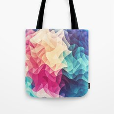 Geometry Triangle Wave Multicolor Mosaic Pattern - (HDR - Low Poly Art) Tote Bag