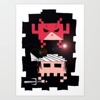 Daredevil and Elektra space invaders Art Print