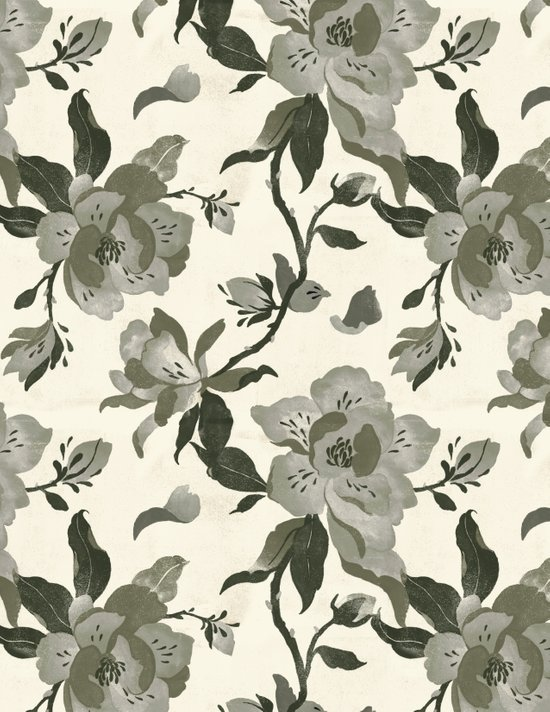 Black Magnolia Pattern Art Print