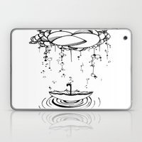 Abstract Whimsical illustration, Rain, cloud, umbrella, Black and white, pen and ink Laptop & iPad Skin