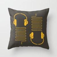 Gold Headphones Throw Pillow