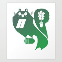 hungry squirrel Art Print