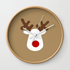 Christmas Reindeer-Brown Wall Clock