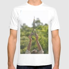 The World On My Shoulders SMALL White Mens Fitted Tee