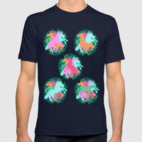 Bouquet of Unicorns Mens Fitted Tee Navy SMALL