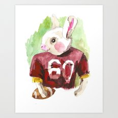 little football bunny Art Print