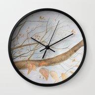 Wall Clock featuring Watercolor Under The Tre… by Aline Souza De Souza