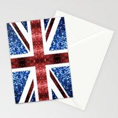 United Kingdom UK flag blue and red sparkles Stationery Cards