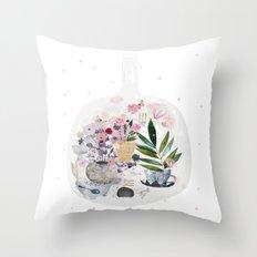Garden in a bottle Throw Pillow
