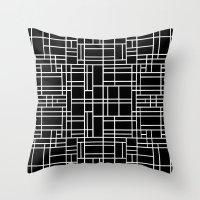 Map Outline White on Black  Throw Pillow