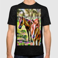 Horses In A Field Mens Fitted Tee Tri-Black SMALL