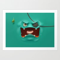 Angry face Art Print