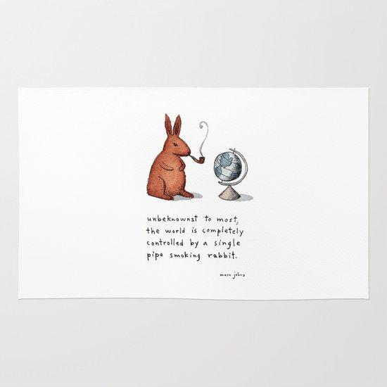 Pipe-smoking rabbit Area & Throw Rug