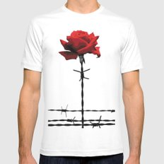 Barbed wire red rose Mens Fitted Tee SMALL White