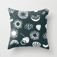 Seaflower mono Throw Pillow