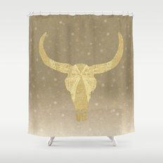 Gold Glitter Cow Skull Shower Curtain