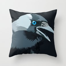Corvus monedula has a stinking attitude Throw Pillow