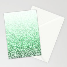 Gradient green and white swirls doodles Stationery Cards