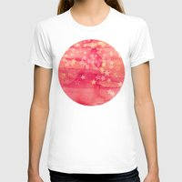 Ink & Stars in Melon & Peach Womens Fitted Tee White SMALL