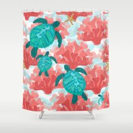 Shower Curtain featuring Sea Turtles In The Coral… by Shelly Penko