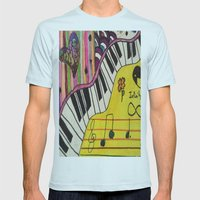 Piano Mens Fitted Tee Light Blue SMALL