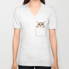 Pocket cat Unisex V-Neck