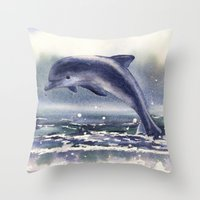 DOLPHIN painting, watercolor dolphin art, sea creatures, ocean lover gift, beach house decor, nautic Throw Pillow