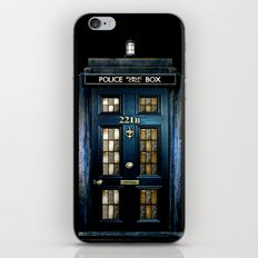 Tardis doctor who Mashup with sherlock holmes 221b door iPhone & iPod Skin