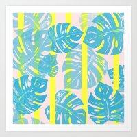 Linocut Monstera Neon Art Print