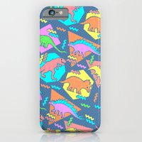 iPhone Cases featuring Nineties Dinosaur Pattern by chobopop